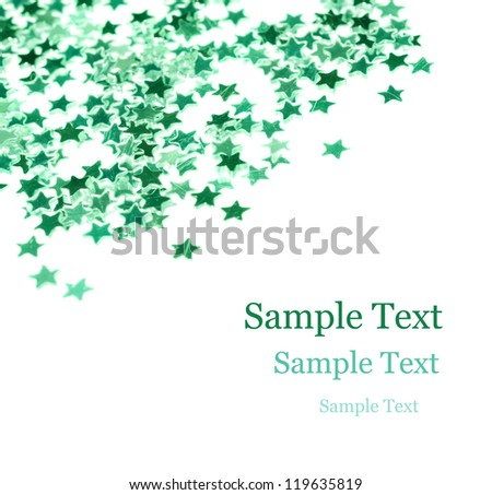 Green Stars Christmas Card - stock photo