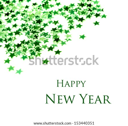 Green stars on a white background - stock photo