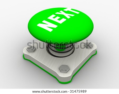 Green start button on a metal platform - stock photo