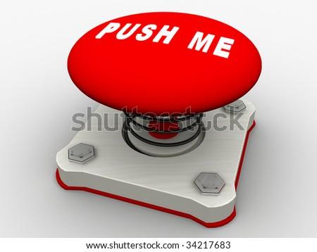 Green start button on a metal platform - stock photo