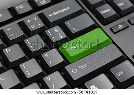 green start key - stock photo
