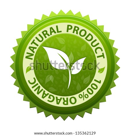 Green sticker or label with text - 100 Organic natural product icon isolated on white background - stock photo