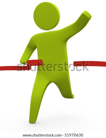 Green sticky figure running across red ribbon
