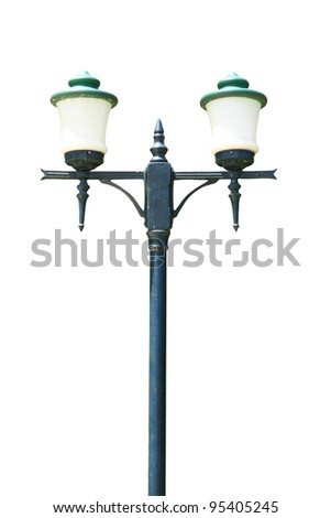 green street lamp post isolated - stock photo