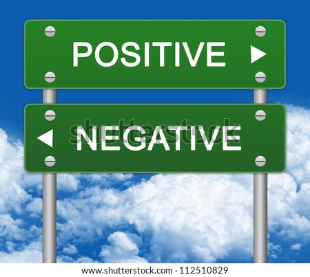 Green Street Sign Pointing to Positive and Negative in Blue Sky Background For Selection Concept - stock photo