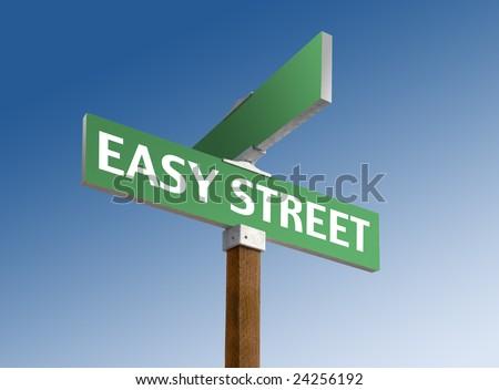Green street sign reading Easy Street - stock photo