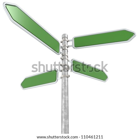 Green Street Sign. Street Sign X 4. Green and blank for Copy Space. Isolated.