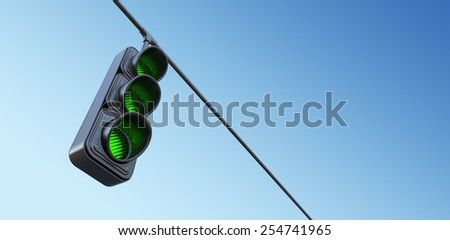 Green street traffic light on sky. 3D illustration - stock photo