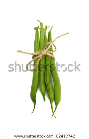 Green string beans isolated on white background