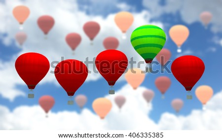 Green striped balloon among other bright colored balloons,the 3D illustration concept of leadership - stock photo
