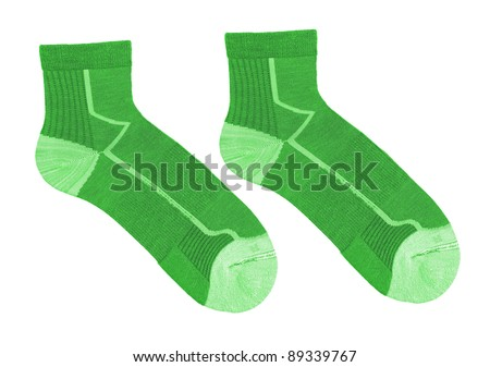 green striped socks isolated on white background - stock photo