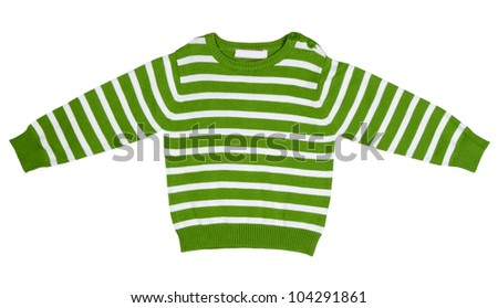 Green striped sweater for children on a white background - stock photo