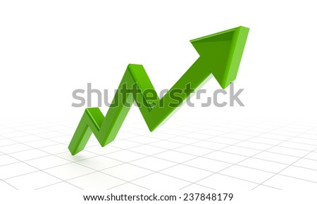green success arrow on grids. 3d rendered image. - stock photo