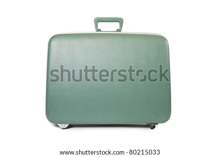 green suitcase isolated - stock photo