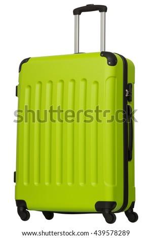 green suitcase isolated on white background - stock photo