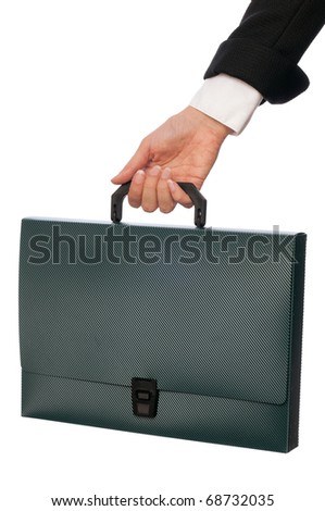 Green suitcase with blank of contracts for new employees - stock photo
