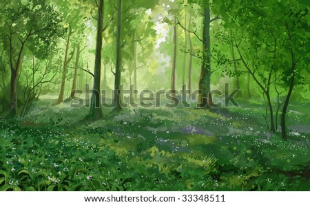 Green summer forest - stock photo