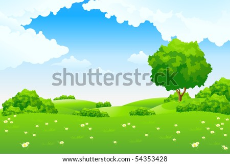 Green Summer Landscape Scene with Hills, Trees, and Flowers. Beautiful Blue Sky with Clouds in the Background. Can be used as backdrop, poster, card, template. Vector illustration.