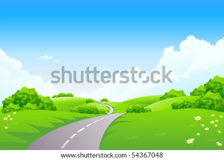 Green Summer Landscape Scene with Hills, Trees, Road and Flowers. Beautiful Blue Sky with Clouds in the Background. Can be used as backdrop, poster, card, template. Vector illustration.