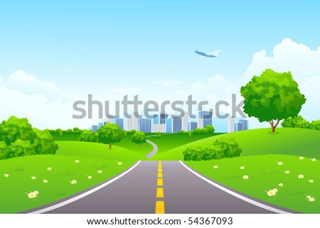 Green Summer Landscape Scene with Hills, Trees, Road, City and Aircraft. Beautiful Blue Sky with Clouds in the Background. Can be used as backdrop, poster, card, template. Vector illustration.