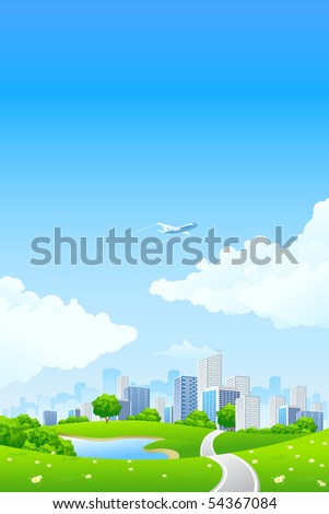 Green Summer Landscape Scene with Hills, Trees, Road, City and Lake. Beautiful Blue Sky with Clouds in the Background. Can be used as backdrop, poster, card, template. Vector illustration. - stock photo