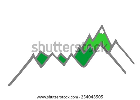 green summer mountain silhouette - stock photo