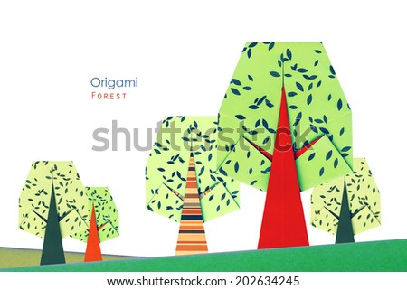 Green summer ornate decoration origami paper tree forest on a white background - stock photo