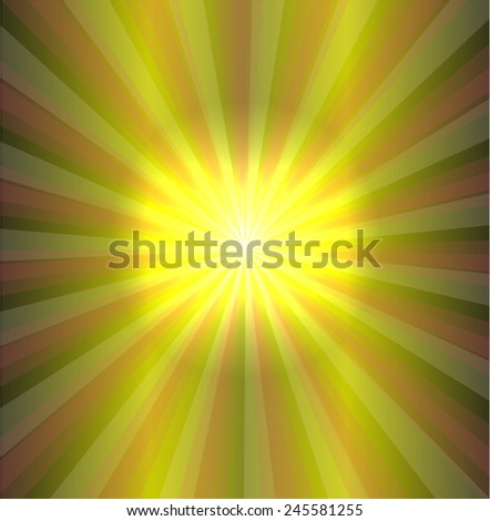 Green sun ray background  - stock photo