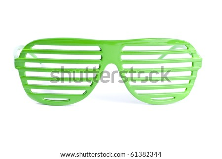Green Sunglasses Isolated on White - stock photo