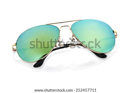 green Sunglasses on white background - stock photo