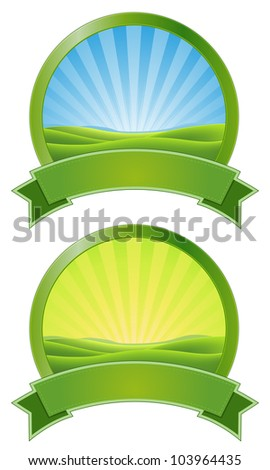 Green Sunrise Banners/ Illustration of two green summer or spring landscape banners with ribbon for ecology  purpose and environment advertisement - stock photo