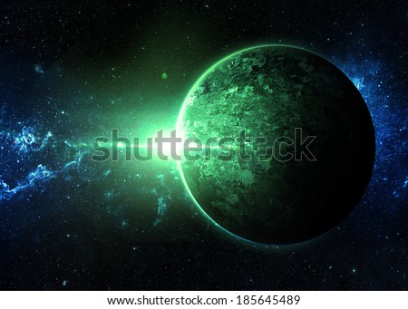 Green Sunrise over Lone Planet - Elements of This Image Furnished By NASA  - stock photo