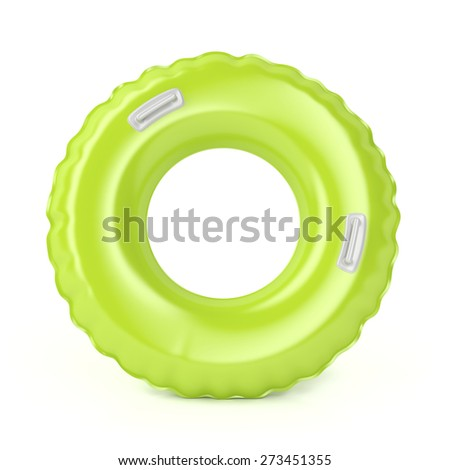 Green swim ring with handles on white background - stock photo