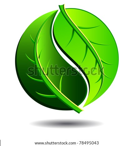 Green symbol concept using Yin Yang in a leaf design - raster version - stock photo