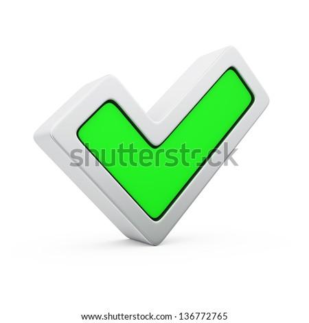 Green symbol of positive voting - stock photo