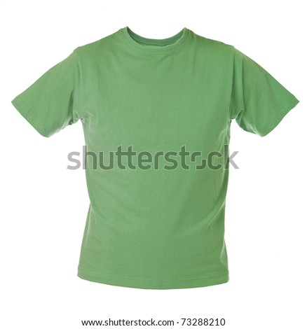 Green T-shirt isolated on white background - stock photo