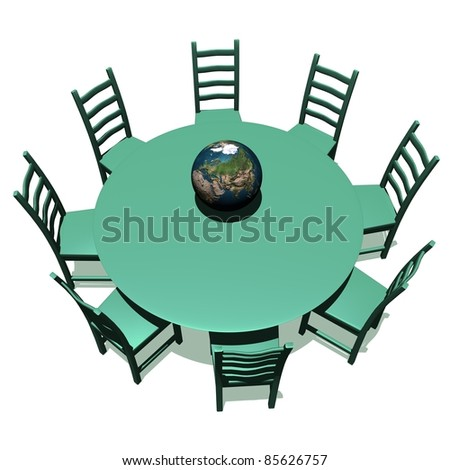 Green table and chairs for a meeting about earth - stock photo