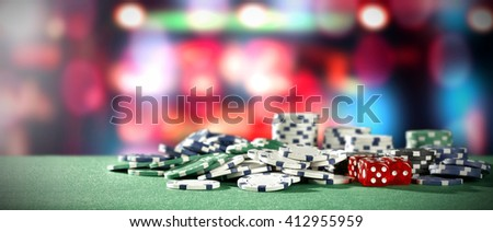 green table background of few colors and casino interior  - stock photo