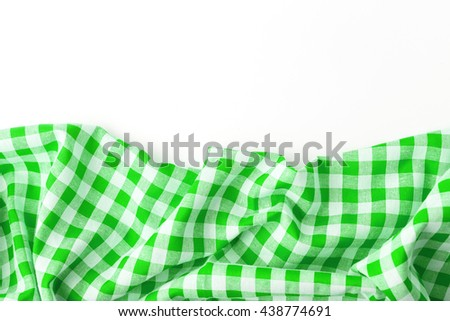 green tablecloth on white background,crumpled fabric on white background
