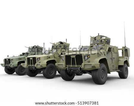Green tactical light armor military vehicles - 3D Render
