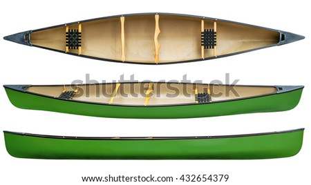 green tandem canoe with wood seats isolated on white - top and side views - stock photo