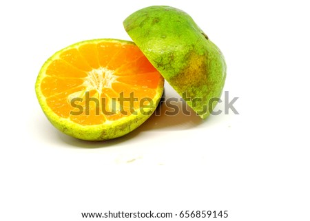 Green tangerine on a white background