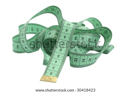 green tape measure isolated on white with clipping pach