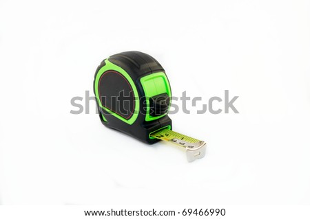 Green tape measure on a white background - stock photo