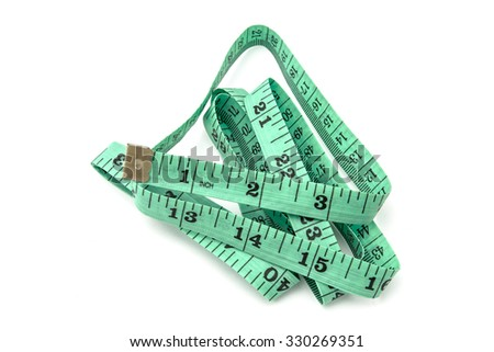 Green tape measure on white background