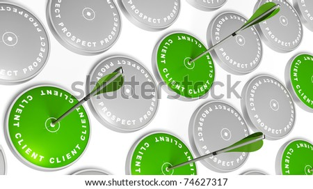 green targets with client marking, green arrows hitting the center and grey targets with prospect marking - stock photo
