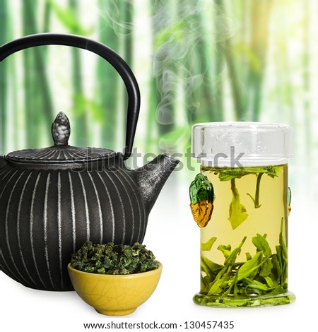 Green tea. - stock photo