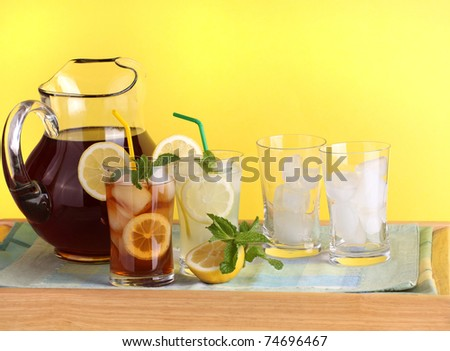Green Tea and Lemonade on Tray - stock photo
