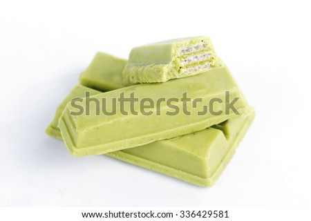 green tea chocolate wafer isolate on white background