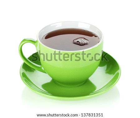 Green tea cup. Isolated on white background - stock photo